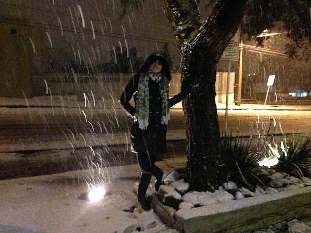 Leitora Marília Bayer foi para as ruas ver a neve