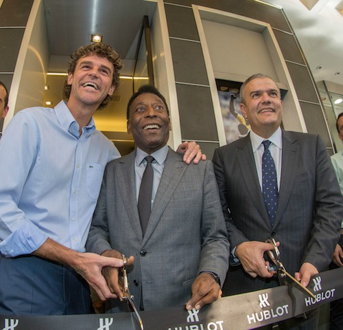 Guga, Pelé e o CEO da Hublot, Ricardo Guadalupe