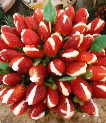 Buquet de Flores de Morangos Recheados com Chantilly